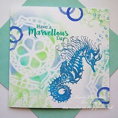 Seahorse stamp set and Mandala Inkable by Bee Crafty Distress Oxides, Seaweed, Stamping, Mandala, Bee, Crafty, Texture, Cards, Inspiration