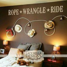 Rope wall art for cowboy room Western Nursery, Cowboy Nursery, Western Rooms, Western Wall Decor, Rustic Nursery, Cowboy Bedroom, Boys Cowboy Room, Kids Bedroom, Bedroom Decor