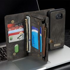 CaseMe Removable Functional PU Zipper Wallet Card Case Cover For Samsung Galaxy S7 Edge