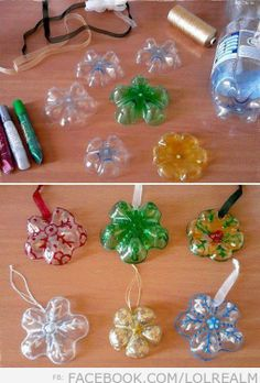 DIY Ornaments Made from Plastic Bottles.