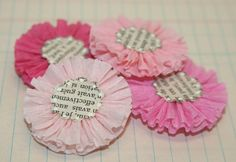 4 Pink Variety Crepe Paper Flowers by luckygirlgoods on Etsy, $3.00