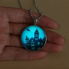 Halloween Haunted House Glowing necklace,Glowing Halloween pendant,Halloween Glowing Jewelry,Glowing Necklace,Glow Pendant,Glow in the Dark  Product number: 152N82  Product material: silver...@ artfire