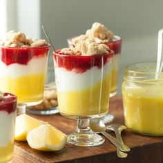 Light and creamy, with the tartness of lemon and the sweetness of berries these dairy-free lemon berry yogurt parfaits with crumble topping are an easy but elegant treat. Strawberry Parfait, Fruit Parfait, Yogurt Parfait, Fruit Crumble, Crumble Topping, Berry Compote, Grain Free Granola, Cold Desserts, Vanilla Yogurt