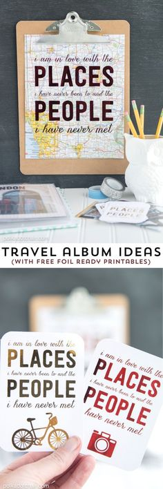 Free travel themed printables perfect to use with a foil applicator machine... lots of great travel scrapbooking ideas too. #HSMinc #FoilalltheThings [ad]