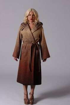 Vintage Ombre Striped Hooded wool coat by PRISMVTG on Etsy, $188.00