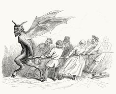 Tirer le Diable par la queue (To live from hand to mouth).  Jean-Jacques Grandville, from Cent proverbes (one hundred proverbs), collective work, Paris, 1845.  (Source: archive.org)