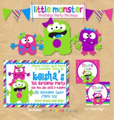 DELUXE Printable Girls Birthday Party Package - Little Monster-  Print Yourself (NEW). by Your Printable Party