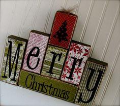 Merry Christmas Wood Blocks Set with Christmas by doubledutydecor