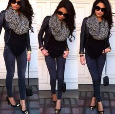 Fall winter cute outfit scarf black skinny jeans leather jacket but not the shoes