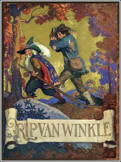 'Rip Van Winkle', written by Washington Irving, published 1819 (cover illustration by Newell Convers Wyeth) Jamie Wyeth, Andrew Wyeth, Nc Wyeth, Howard Pyle, Rip Van Winkle, Les Fables, Painter Artist, Children's Book Illustration, Book Illustrations