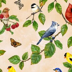 Berry Patch : Jane Maday : Birds on Blue