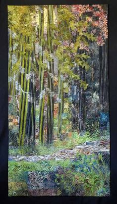Fiber Art Quilts-Landscape.  The Lovely Woods 55 x 29 inches  Finalisit in IQA's 2012  International Quilt Festival