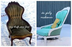 fabulous upcycle of lovely old chair.  some day i may attempt a reapulster.  aqua chair redo tutorial (how to reupholster a tufted chair) | kojodesigns