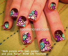 Nail-art by Robin Moses: funky fresh flowers for spring funky floral nail art butterfly nail art beautiful butterfly nails long nail art