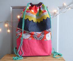 Sac à dos à coulisse multicolore, sac tissu, sac fourre-tout, sac enfant, sac écologique, poche, sac à goûter, pochon de rangement, mylmelo de la boutique mylmelo sur Etsy