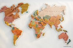 Wooden World Map. World Map Puzzle, Wood World Map, World Map Decor, Map Wall Decor, Wall Maps, Diy Projects For Bedroom, Organic Glass, Wooden Map, Map Globe