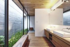 Modern Villa Design With Chinese Garden Philosophy -- love how ceiling material used outside as well. Not sure how you maintain the garden there -- sliding doors? Design Villa Moderne, Modern Villa Design, Beautiful Bathrooms, Modern Bathroom, Master Bathroom, Modern Wall, Zen Bathroom, Modern Sink, Minimalist Bathroom