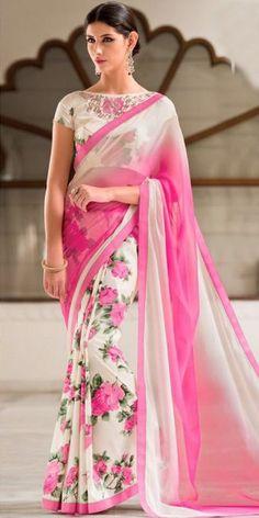 Impressive pink n off white printed chiffon saree. Floral Print Sarees, Saree Floral, Printed Sarees, Designer Sarees Online Shopping, Latest Designer Sarees, Indian Wedding Outfits, Indian Outfits, Indian Clothes, Kerala Saree Blouse Designs
