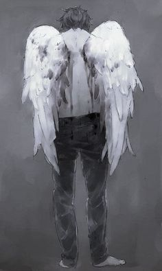 Anime boy with white wings. Male Angels, Angels And Demons, Male Fallen Angel, Anime Angel, Ange Demon, Anime Kunst, Angel Art, Yandere, Manga Anime