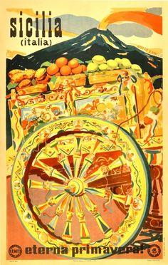 Sicilia Italia Vintage Travel Poster, 1947 - Poster Print, Sticker or Canvas Print / Gift Idea / Wall Art Vintage Italian Posters, Vintage Travel Posters, Vintage Postcards, Vintage Ads, Italia Vintage, Vintage Italy, Retro Poster, A4 Poster, Poster Wall