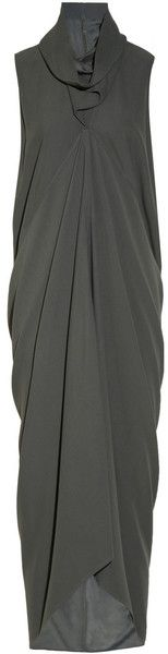 Rick Owens Mountain Kite Draped Crepe Dress in Gray | Lyst