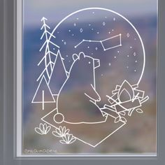 Is it cloudy tonight? Don& worry, with this large bear window drawing you can . - Is it cloudy tonight? Don& worry, with this big bear window drawing you can … - After Christmas, Christmas Crafts, Christmas Decorations, Xmas, Rustic Winter Decor, Decoration Vitrine, Chalkboard Art, Chalk Art, Sketches