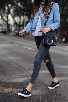 Superga are classics! I usually like to pair my sneakers with a bit of a cropped jean so it shows off the shoe.