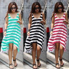 Loose Stripe Sleeveless Beach Dress