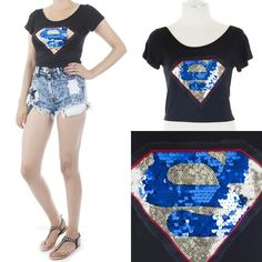 ebclo - Sequined SUPERMAN Motif Patch CROP Tee  $29.00 Free Domestic Shipping