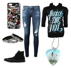 """pierce the veil outfit"" by ptv-bvb-sws-fir-nsn-botdf-bmth ❤ liked on Polyvore featuring Jac Vanek, AG Adriano Goldschmied and Converse"