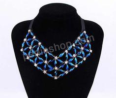 Kragen Halskette, Kristall, mit Satinband & Baumwollsamt & Glas-Rocailles, Dreieck, einstellbar & mit Strass, Crystal Bermuda Blue, frei von...