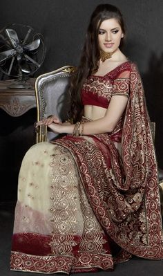 $66.36 Brown Net Saree 20838 With Unstitched Blouse
