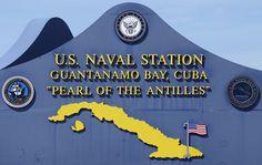 The main sign at  the U.S. Naval Station at Guantanamo Bay, Cuba