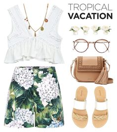 """Tropical Vacation #2"" by hafizhahtika ❤ liked on Polyvore featuring Marc Jacobs, Dolce&Gabbana, NDI, Kate Spade, Soludos, summeroutfits, polyvorecontest and TropicalVacation"