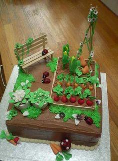 Allotment cake by me :-) www. Allotment cake by me :-] www. Garden Theme Cake, Garden Birthday Cake, Garden Party Cakes, Birthday Cakes For Men, 70th Birthday Cake, 60th Birthday, Fondant Cakes, Cupcake Cakes, Allotment Cake