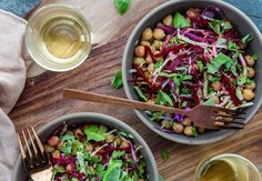 Simply opening a tin of chickpeas is the first step in our next vegetable salad, which is wonderfully crunchy and garlic-y. Try Angela Casley's tas...
