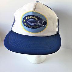 YA Pacific Inspection Blue White Adjustable Snap Back Baseball Cap One Size  #YA #BaseballCap