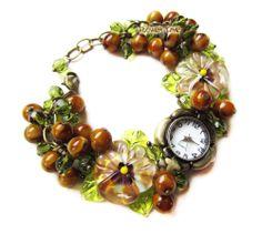 Women quartz  lampwork wrist watch 'Fallen leaves' with handmade lampwork beads ''pansies'' made by Inna Kirkevich