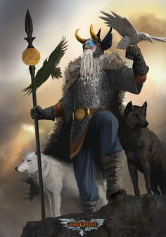 """Odin Allfather: What Does """"Allfather"""" Mean? Arte Viking, Viking Art, Ancient Vikings, Norse Vikings, Roman Drawings, Odin Allfather, Odin Norse Mythology, Character Art, Character Design"""