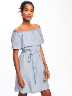 Ruffled Off-the-Shoulder Tencel® Shift Dress for Women | Old Navy