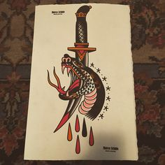 #snake #dagger #tattooflash