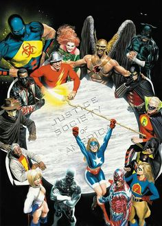 Justice Society of America, by Alex Ross. Alex Ross is awesome. Arte Dc Comics, Lego Dc Comics, Justice Society Of America, Batman Vs, Spiderman, Batman Robin, Superman Art, Gotham Batman, Alex Ross