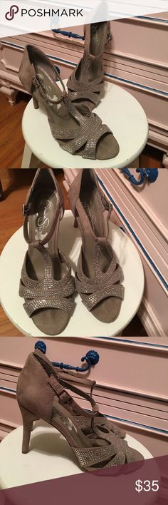 """Sparkly heels Jessica Simpson """"JP Jazmeen2"""" heels, taupe/mushroom color, fabric upper, leather sole, 4"""" heels, size 8-1/2B. There are a couple of stones missing on the inside of the right shoe and 1 missing & 1 non-sparkly on the inside of left shoe (please see pics 6 & 7). These were only worn a couple of times---EUC! Jessica Simpson Shoes Heels"""