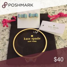 "Kate Spade Bow Earring & Bracelet ♠️ Kate Spade bow bracelet and earrings in ""Blue Hydrangea"". Both are NEW and with tags! The cute dustbag will be included! ♠️ kate spade Jewelry"