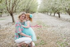mother daughter poses, children, orchard