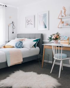 a warm pastel scandinavian style bedroom
