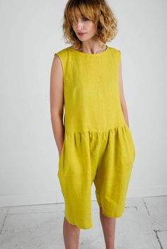Yellow Linen Jumpsuit - Sleeveless Linen Jumpsuit - Yellow Linen Overall - Women Jumpsuit - Women Overall - Handmade by OFFON by OffOn on Etsy