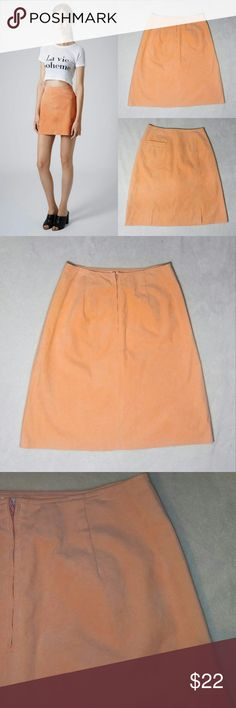 Suede Orange Apricot Skirt Suede orange/ apricot skirt Size 12. Worn once. No stains, rips or flaws. Skirts