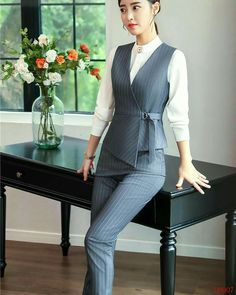 2019 winter formal elegant women's fashion two piece women vests trouser grey ladies pant and top sets office uniform styles. Yesterday's price us. Vest Outfits For Women, Suits For Women, Clothes For Women, Elegant Style Women, Elegant Woman, Moda Pop, Formal Wear Women, Formal Tops For Women, Winter Formal