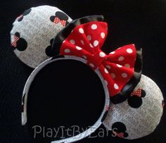 Handmade Minnie Mouse Heads Bows Words Polka Dots by PlayItByEars